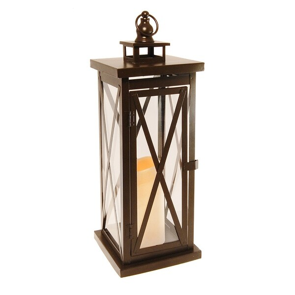 "17"" Battery Operated Black CrissCross Design Metal Lantern with LED Candle - N/A"