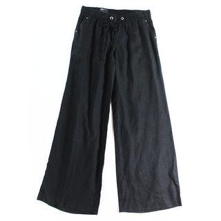 INC NEW Deep Black Womens Size 10 Drawstring Wide-Leg Linen Pants