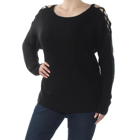 BAR III Womens Black Cut Out Long Sleeve Scoop Neck Sweater Size: XXL