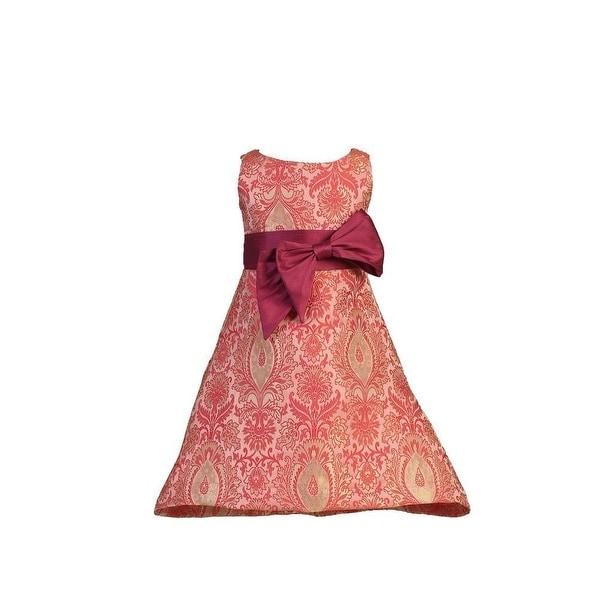 c056597c5 Angels Garment Girls Red Dupioni Bow Pink Brocade Christmas Dress 5-10