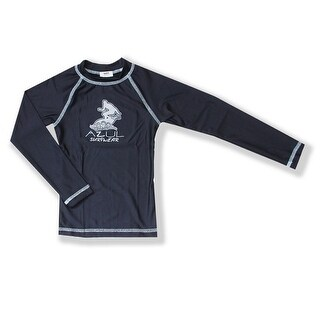 Azul Little Boys Navy Solid Logo Detail Long Sleeve UPF 50+ Rash Guard