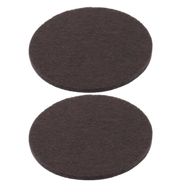 Household Felt Round Sofa Fridge Leg Anti-slip Pad Chocolate Color 85mm Dia 2pcs