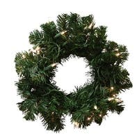 "10"" Pre-Lit Deluxe Windsor Pine Artificial Christmas Wreath - Clear Lights - green"