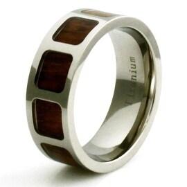 Titanium Wood Film Reel Inlay Design Ring