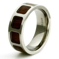 Titanium Wood Film Reel Inlay Design Ring