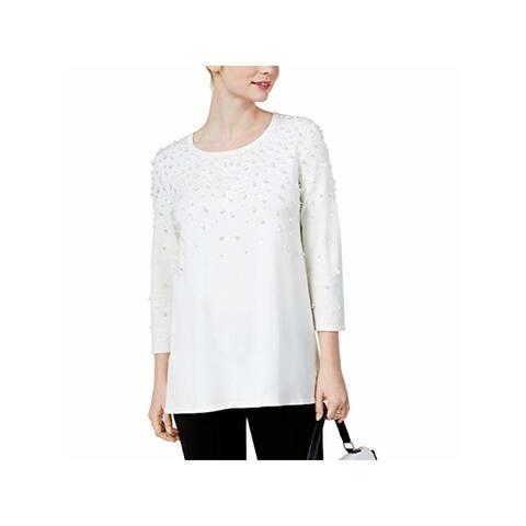 ALFANI Womens Ivory Long Sleeve Scoop Neck Sweater Size L