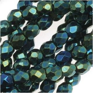 Czech Fire Polished Glass Beads 4mm Round Green Iris (50)