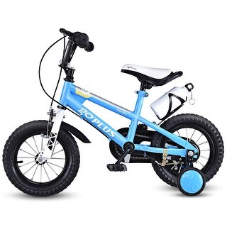 Goplus 12'' Freestyle Kids Bike Bicycle Children Boys & Girls w Training Wheels Blue