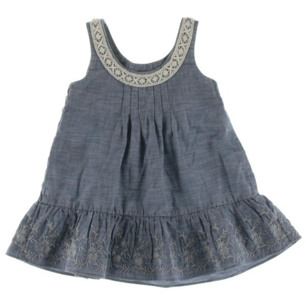 18fd933d6a222 Polo Ralph Lauren Flounce Dress Embroidered Chambray - 2/2t