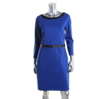 Lauren Ralph Lauren Womens Petites Faux Leather Trim 3/4 Sleeves Casual Dress