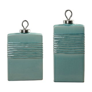 """Set of 2 Green Ceramic with Textured Ribs Containers 18"""" - N/A"""