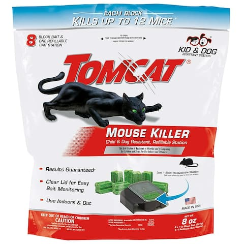 Tomcat 0372010 Child & Dog Resistant Mouse Killer w/ 1-Station & 8 Oz Block Bait