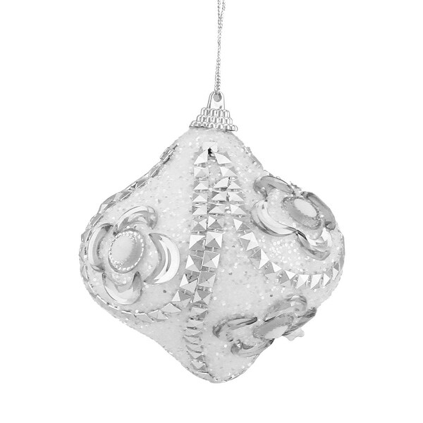 "Set of 3 White and Silver Rhinestone Flower Pattern Shatterproof Onion Christmas Ornaments 3"""