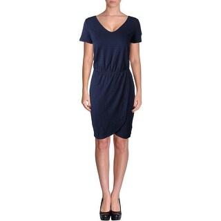 Three Dots Womens Striped Short Sleeves Casual Dress