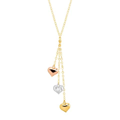 Triple Heart Lariat Necklace with Cubic Zirconia in 10K Three-Tone Gold - White