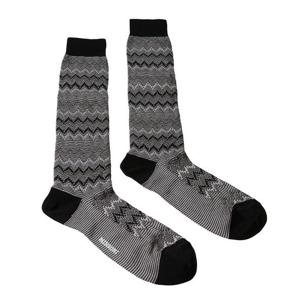 Missoni GM00CMU5445 0008 Gray/Black Knee Length Socks - Grey