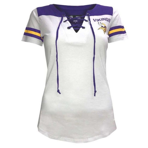 Shop New Era Women s NFL Minnesota Vikings T-Shirt Drawstring V-Neck Tee  C40061L - Free Shipping On Orders Over  45 - Overstock - 22369556 e21453cde
