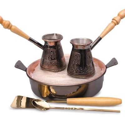 STP-Goods Tete-a-Tete 2 Turkish Coffee Pot Cezve Set w/ Hearth & Sand
