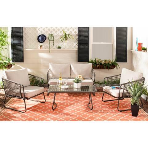 Safavieh Outdoor Living Benjin 4 Piece Living Set - Brown / Beige