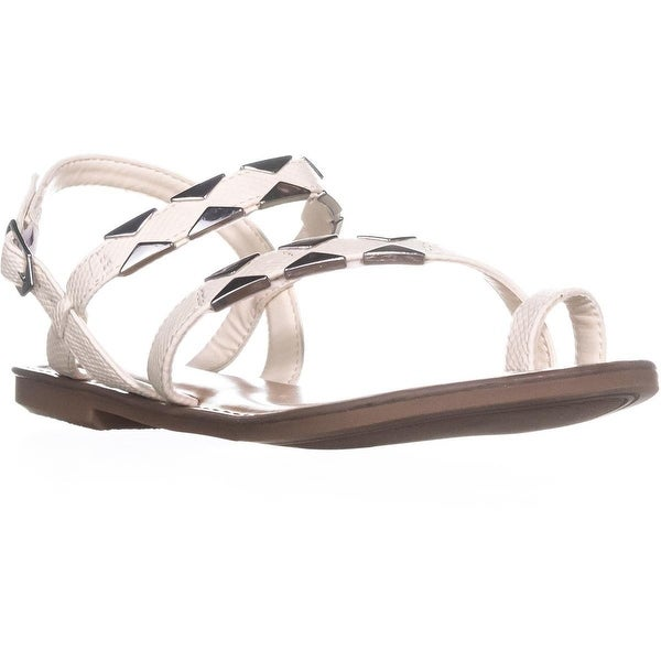 B35 Vadya Flat Toe Ring Buckle Sandals, White