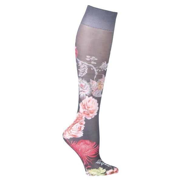 Celeste Stein Women's Mild Compression Knee High Stockings - Nocturnal Garden - Medium
