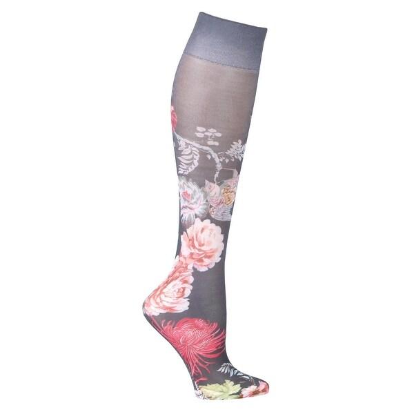 Celeste Stein Women's Moderate Compression Knee High Stockings -Nocturnal Garden - Medium