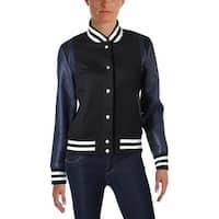 Aqua Womens Varsity Jacket Wool Blend Mixed Media