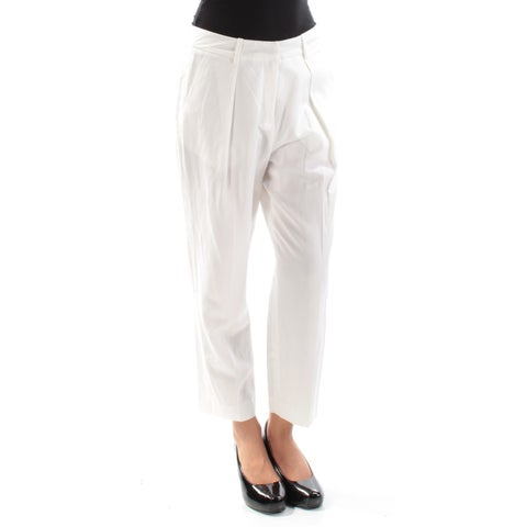 ANNE KLEIN Womens White Cropped Straight leg Pants Size: 2