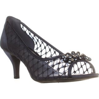 KS35 Maralyn Jeweled Peep-Toe Heels, Navy