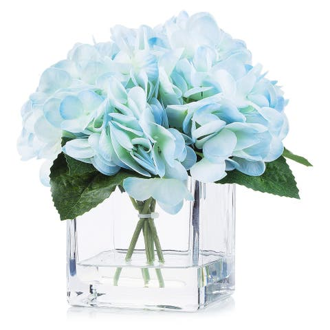 Enova Home Artificial Real Touch Hydrangea Fake Silk Flowers Arrangement in Cube Glass Vase With Faux Water For Home Decoration