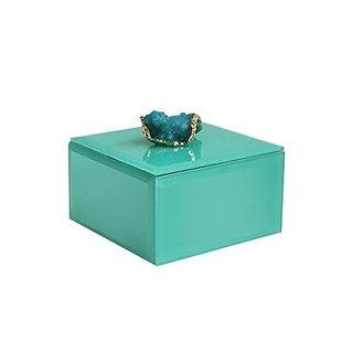 American Atelier Agate Square Jewelry Box, Peacock