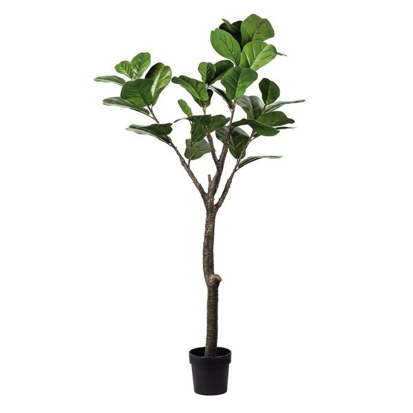 """59"""" Green and Black Botanical Faux Round Potted Fiddle Leaf Tree - N/A"""