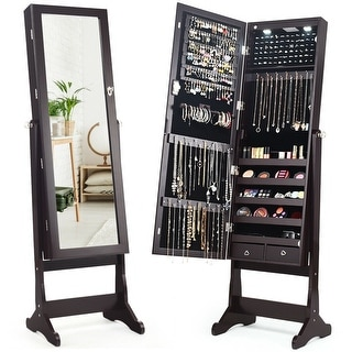 Costway Mirrored Jewelry Cabinet Organizer Storage Stand LED Lights