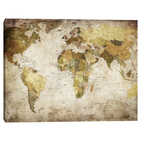 Golden Map of the World by Belle Maison Canvas Art Print