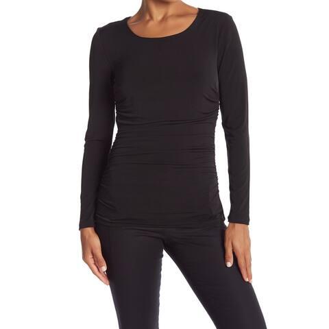 Catherine Malandrino Womens Blouse Black Size Large L Ruched Shirred