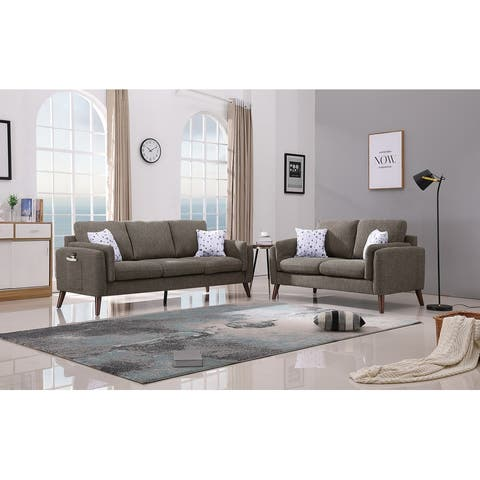 Winston Fabaric Sofa and Loveseat Living Room Set with USB Charger and Tablet Pocket