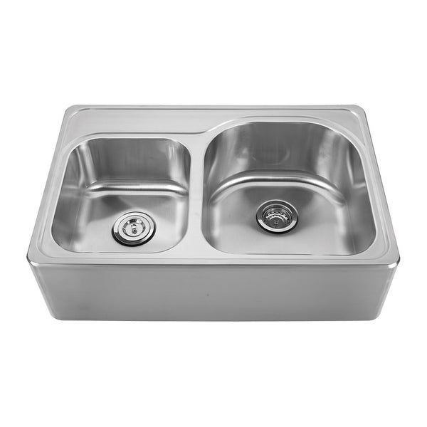 Whitehaus WHNAPD3322 Double Bowl Drop-In Sink with Seamless Customized Front-Apron - Brushed Stainless Steel