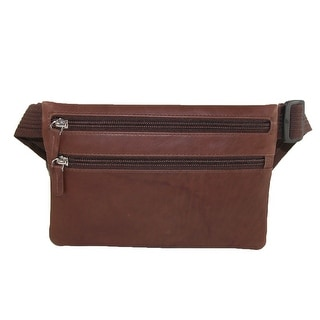 CTM® Leather Slim Style Waist Pack