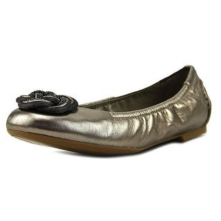 B. Makowsky Woven Knot Flat Women  Round Toe Leather Gray Ballet Flats