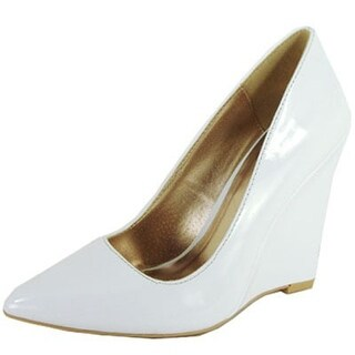 Qupid Meester-01 Single Sole Pointy Toe Wedge Heel Pump