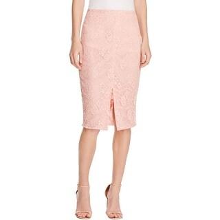 Aqua Womens Pencil Skirt Lace Front Slit