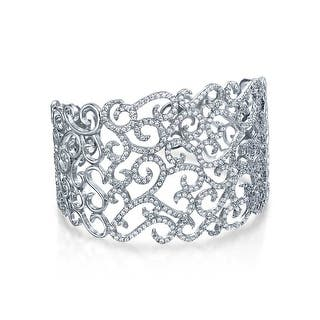 Bling Jewelry Cubic Zirconia Pave Swirl Bridal Cuff Bracelet Rhodium Plated|https://ak1.ostkcdn.com/images/products/is/images/direct/fc2bdae1aa05dac8fa04a6ed571bed6aa0bf1e85/Bling-Jewelry-Cubic-Zirconia-Pave-Swirl-Bridal-Cuff-Bracelet-Rhodium-Plated.jpg?impolicy=medium