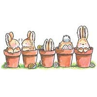 """Bunny Friends - Penny Black Mounted Rubber Stamp 2.5""""X5"""""""