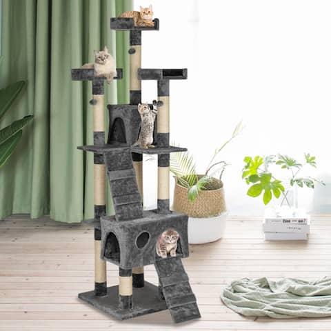 "66"" Multi-Level Cat Tree Sisal-Covered Scratching Posts Plush Condo"