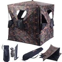 Costway Ground Hunting Blind Portable Deer Pop Up Camo Hunter Weather Proof Mesh Window - as pic