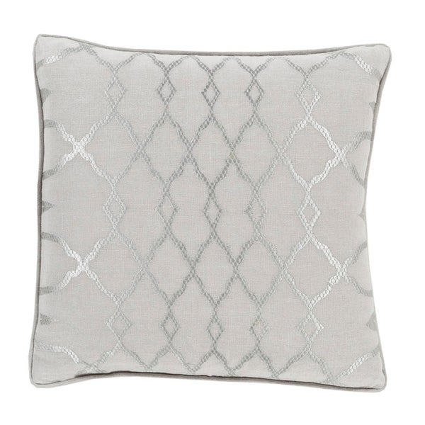 "20"" Diamond Elegance Dolphin and Wisp Gray Decorative Pillow – Down Filler"