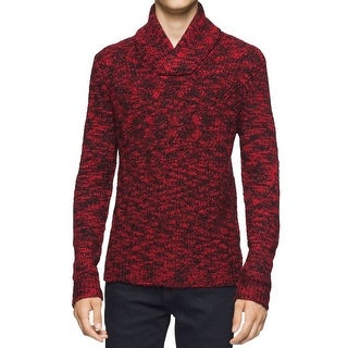 Calvin Klein NEW Red Mens Size Large L Cable Knit Shawl Collar Sweater