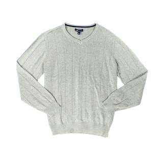 John Ashford NEW Heather Gray Mens Size Large L Rib-Trim V-Neck Sweater