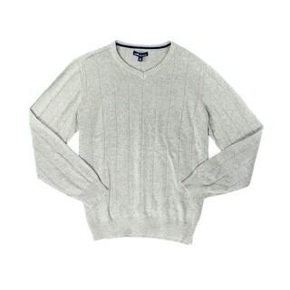 John Ashford NEW Heather Gray Mens Size Large L Textured V-Neck Sweater