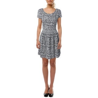 Lauren Ralph Lauren Womens Petites Printed Short Sleeves Casual Dress - pm